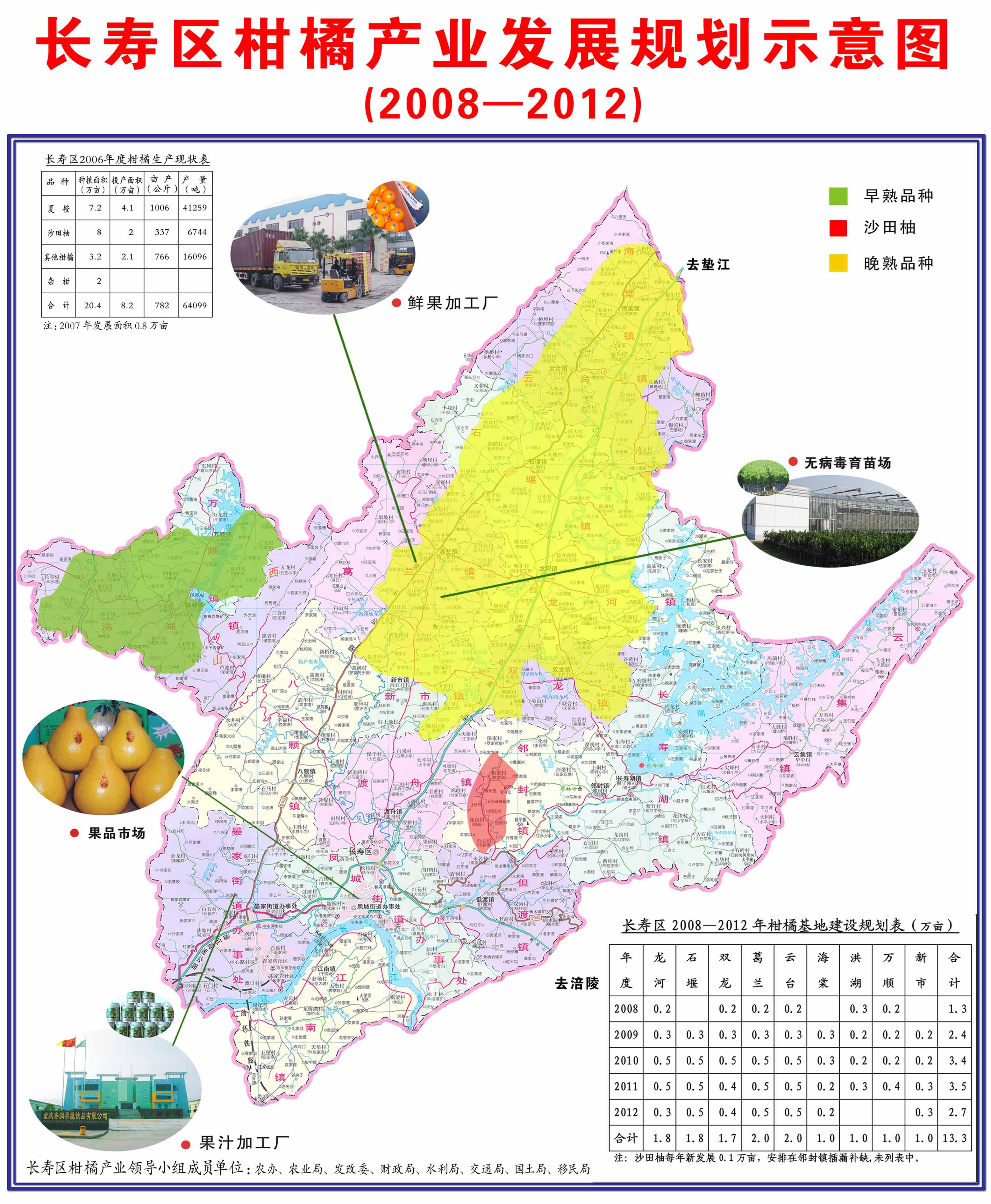长寿区柑橘规划图(2008-2012)