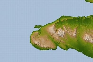 伊斯帕尼奥拉岛(即海地岛)及附属岛屿地形图