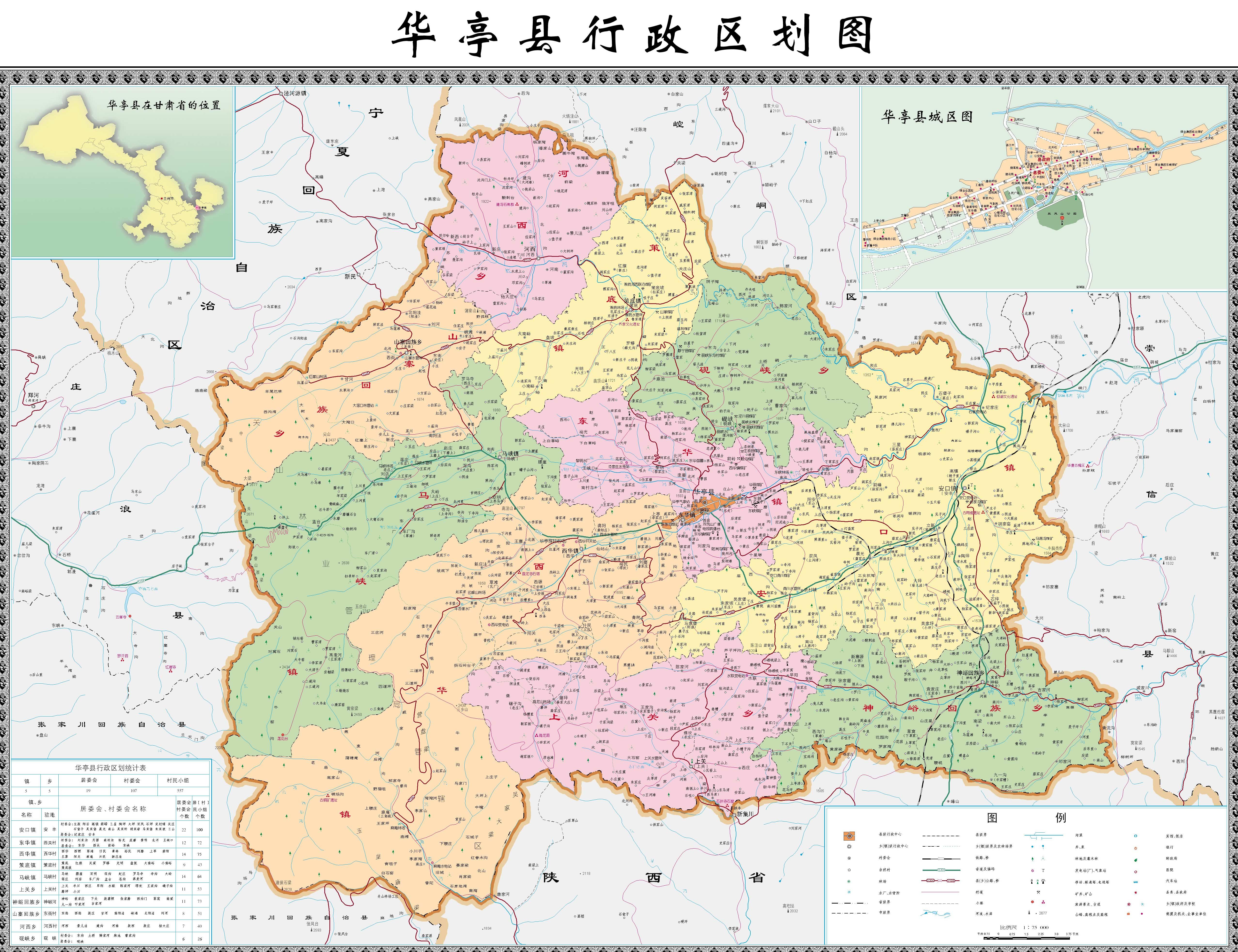 华亭县行政区划图