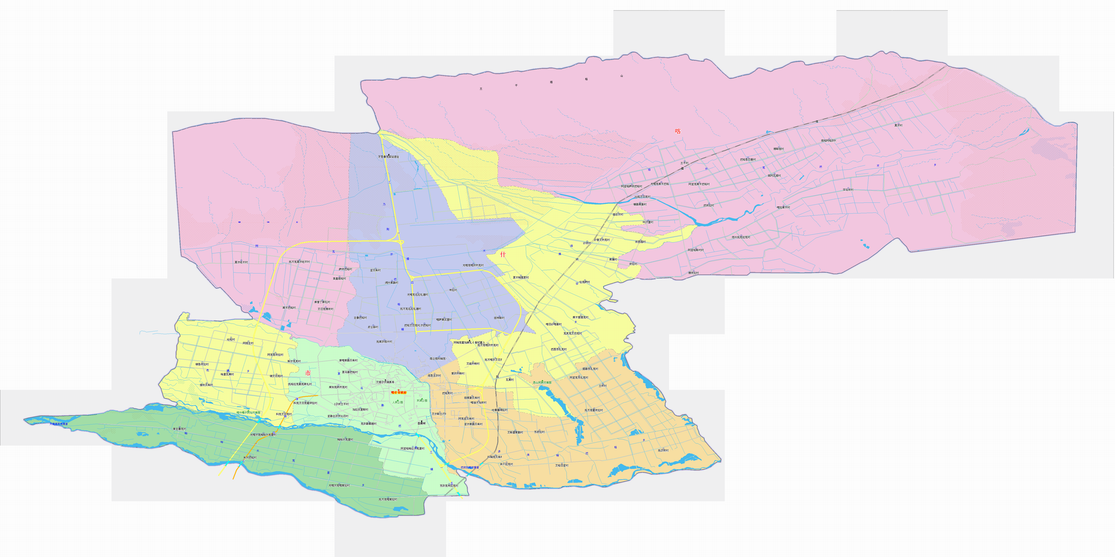 图解喀什市区划调整图片