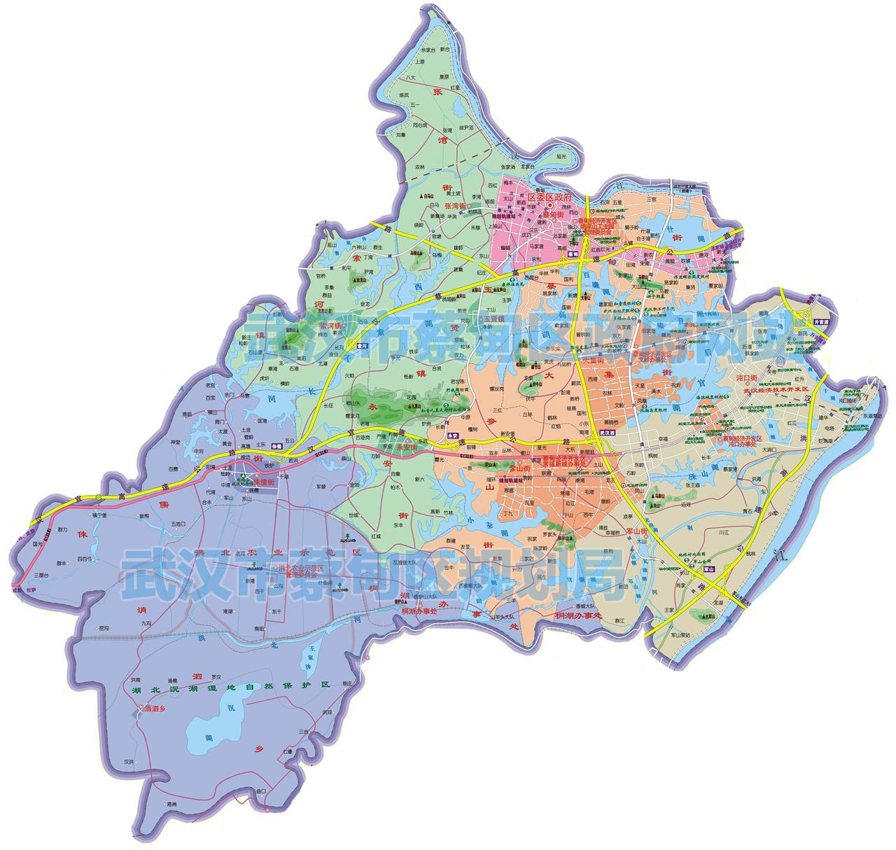 武汉市各城区行政区划图