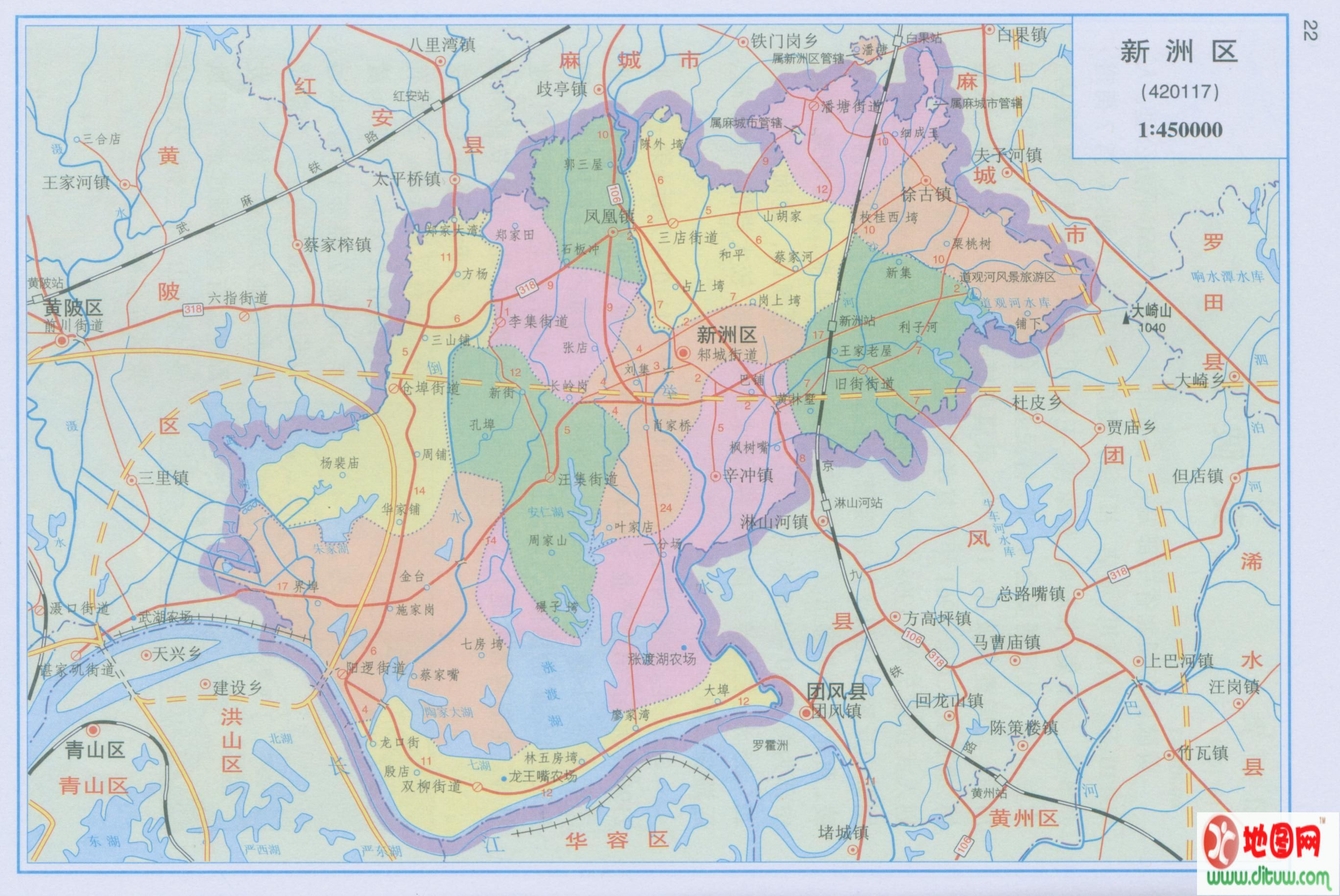 武汉市新洲区地图