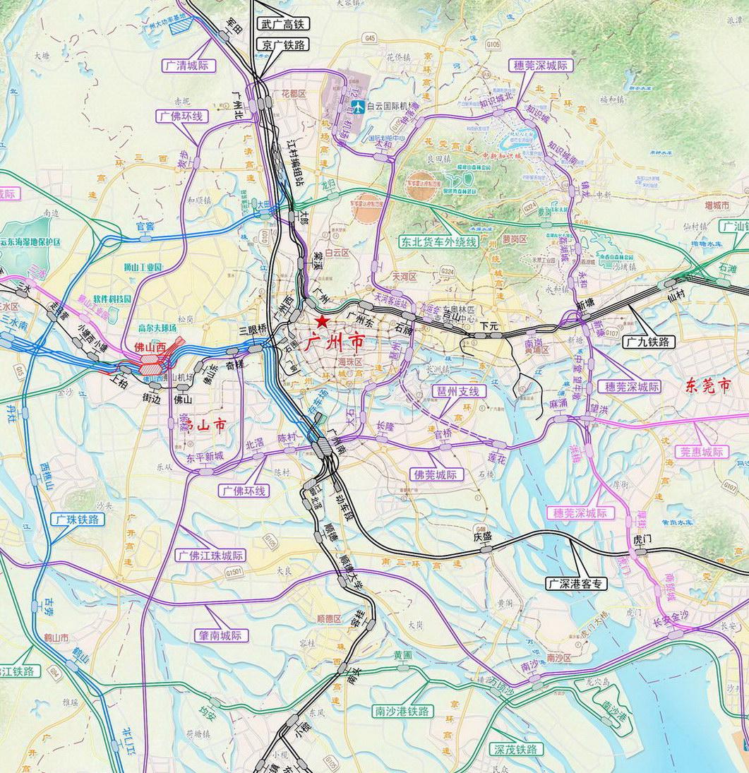 广州谋划2040年铁路枢纽建设:未来将有十大火车站图片